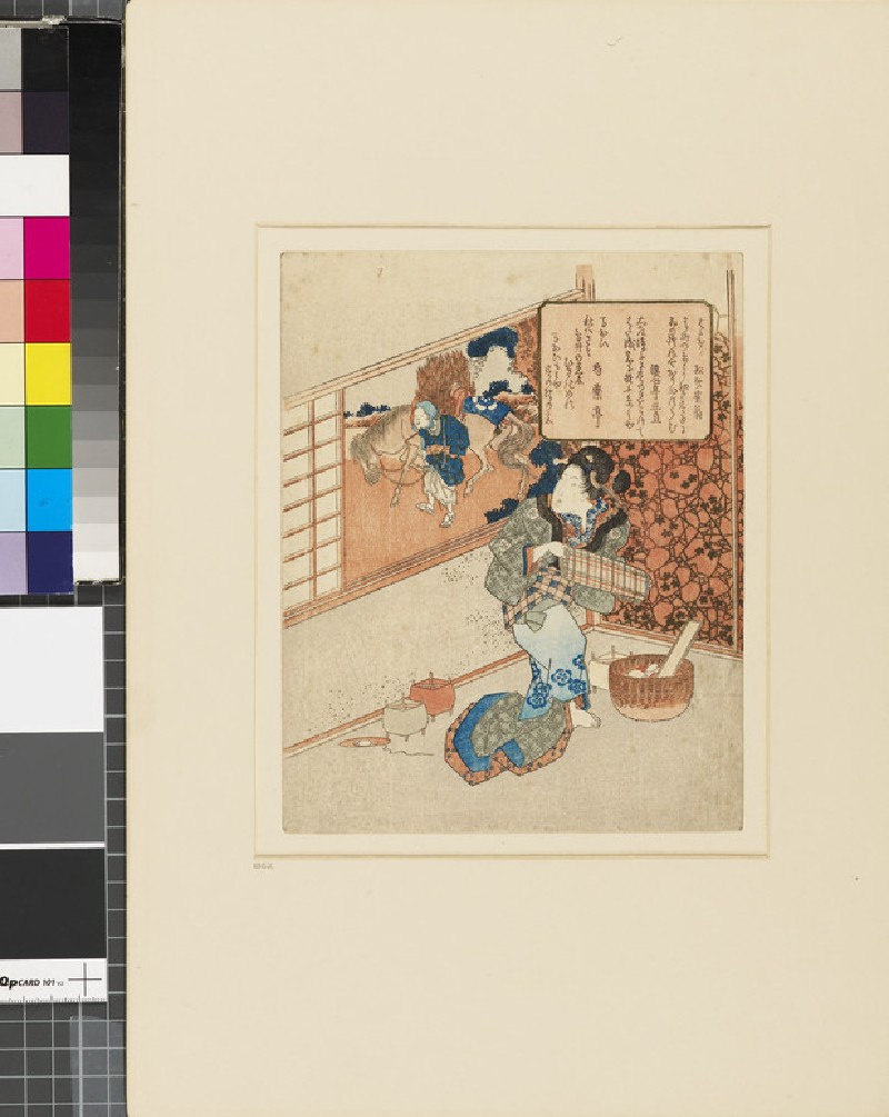 A woman with a roll of cloth and weaving materials looking through a window at a peasant leading a horse