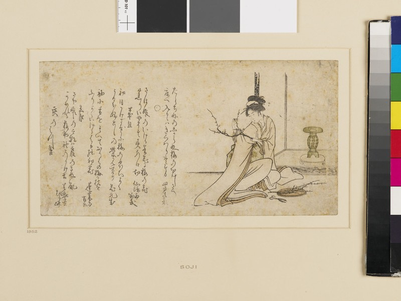 Woman arranging plum blossom for the display alcove (front          )