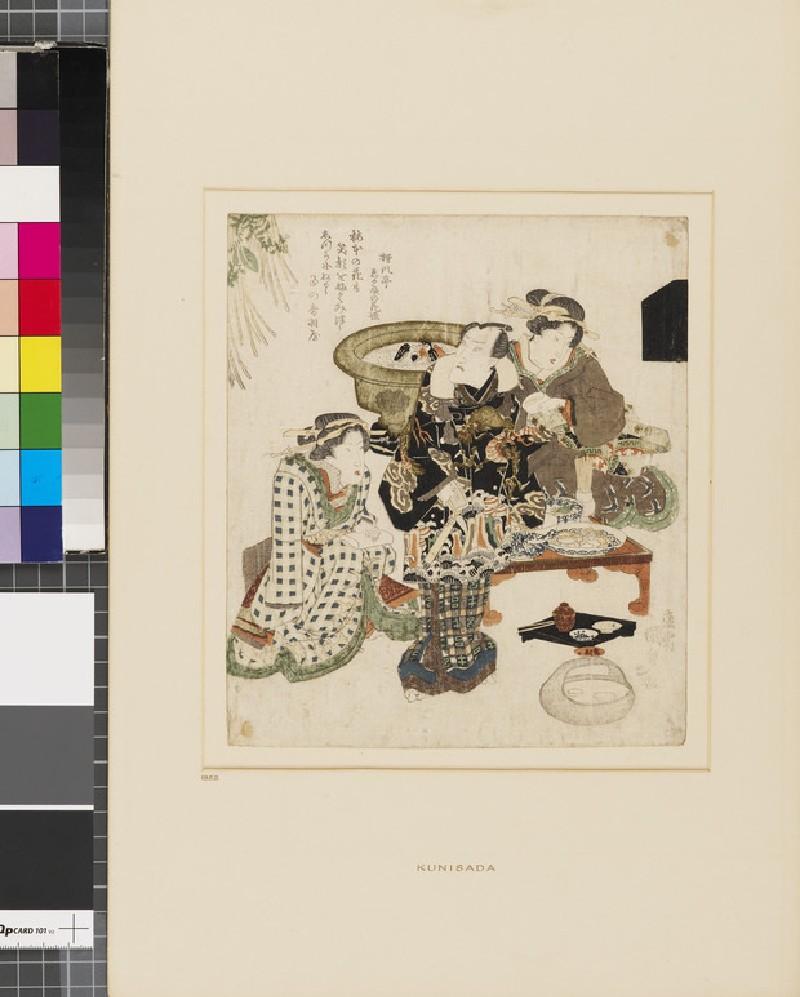 The actor Onoe Kikugorō III (Otowaya) entertained by two courtesans at the Umemoto tea house