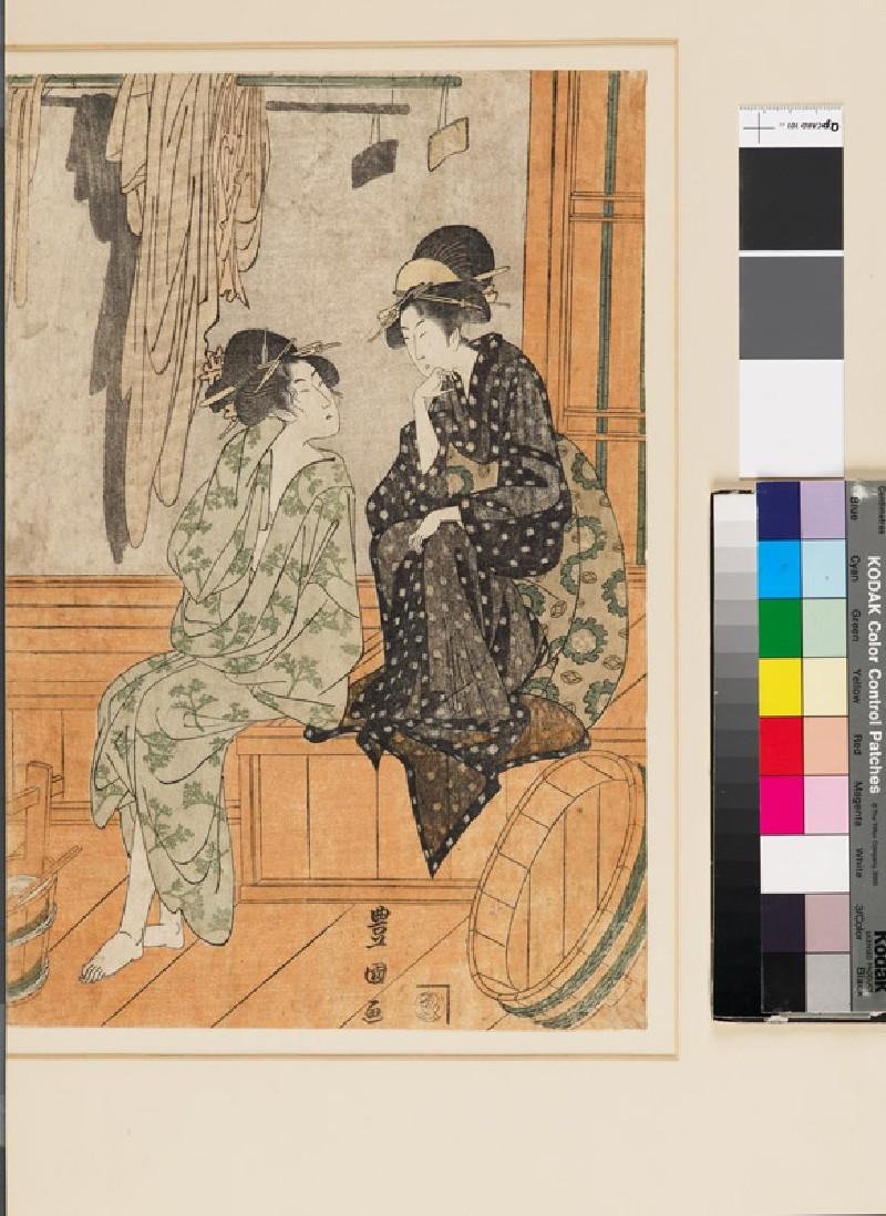 Women talking in a bath house (EAX.4676.a, front            )