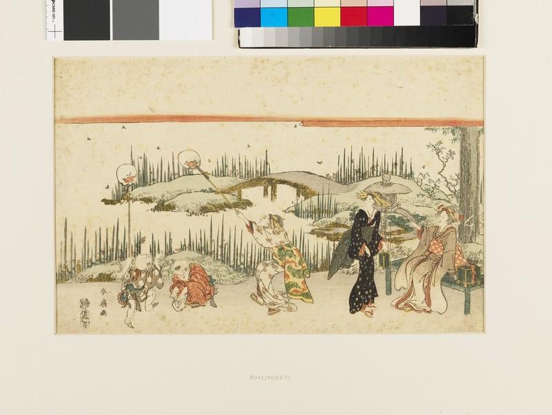 Catching fireflies. Three women and two children in a garden (EAX.4712, front          )