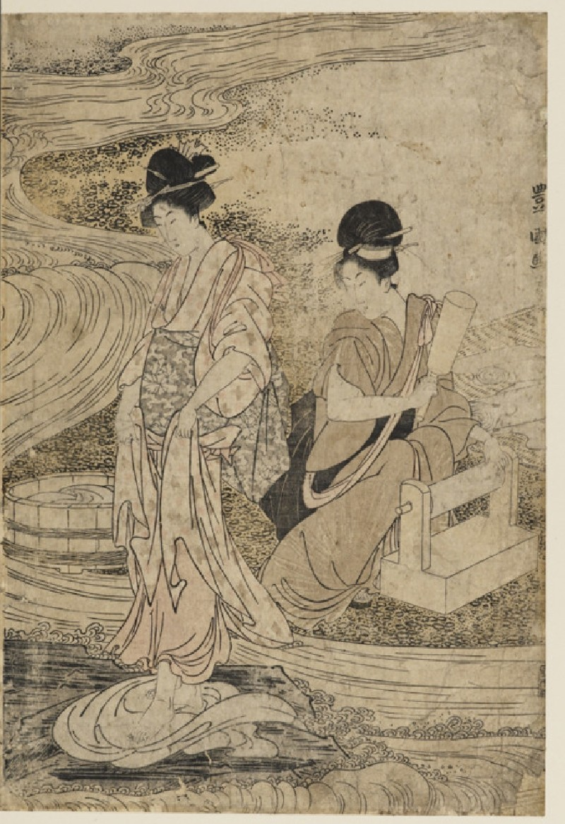 Dyers fulling cloth near a river bed (EAX.5297.a, front            )