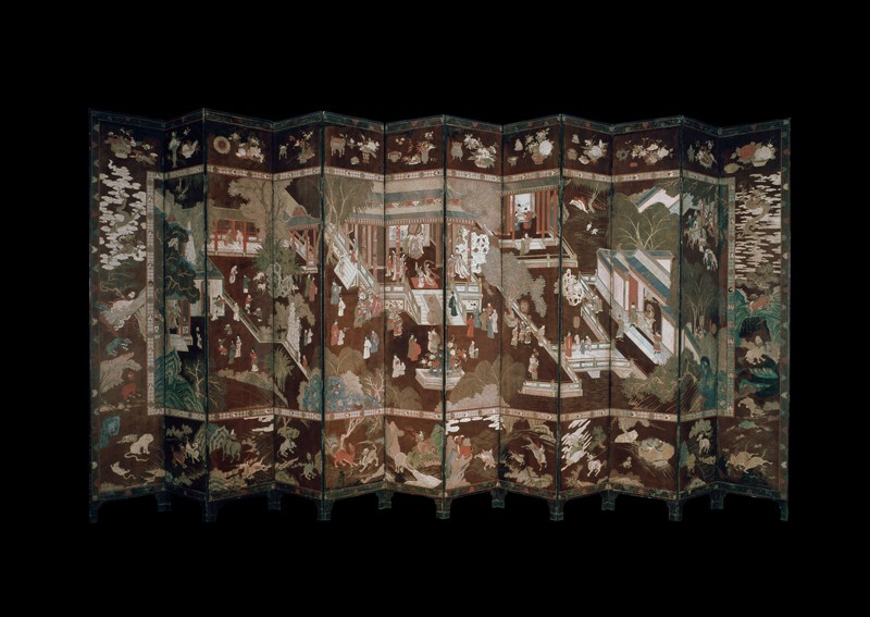 Coromandel screen with Chinese palace scene (front          )