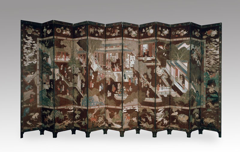 Coromandel screen with Chinese palace scene (EAX.5331, front          )