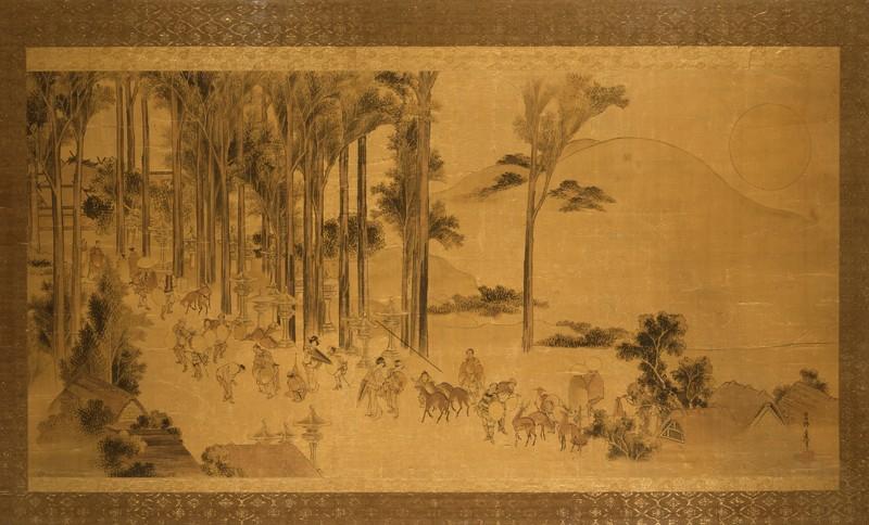 Pilgrims at Kasuga Taisha Shrine (EAX.5361, front          )