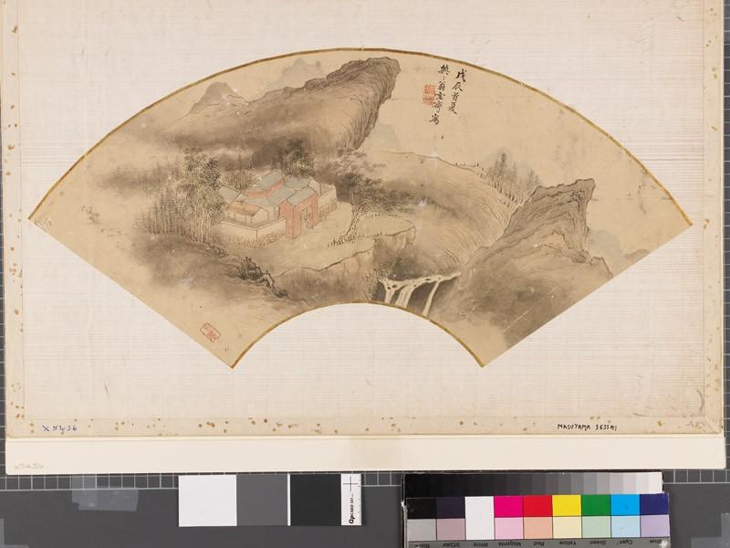 Scholar's retreat in a mountainous landscape (EAX.5436, front          )