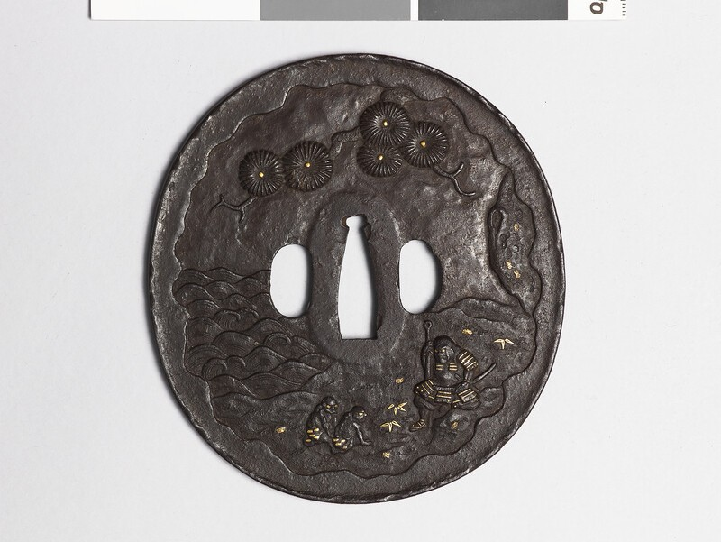 Tsuba depicting Minamoto no Tametomo marooned on the Isle of Demons