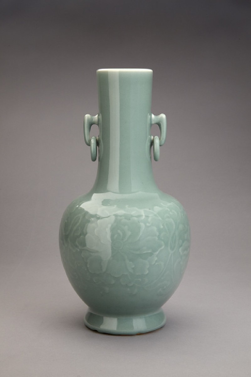 Vase with ring handles and peonies