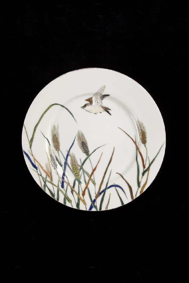 Plate from a tea service, with design of bird and grasses (EA2014.54)