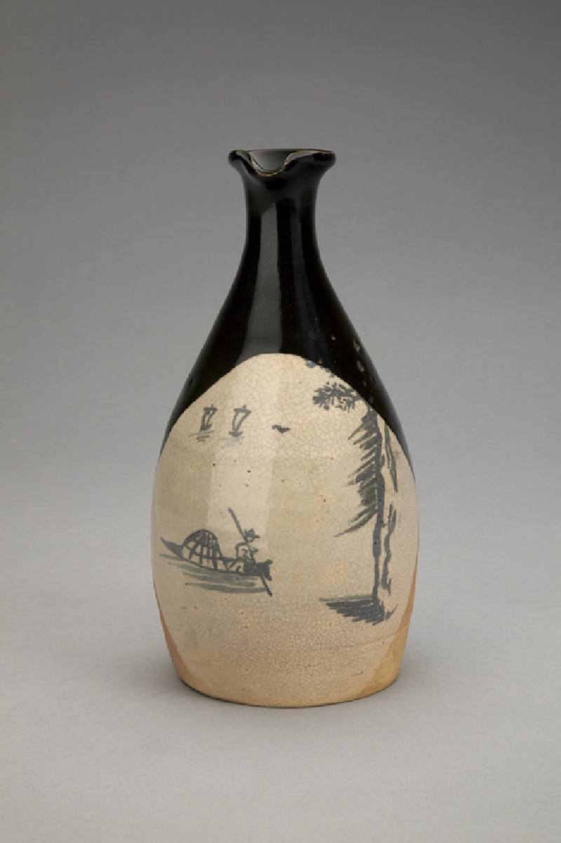 Mushiage sake bottle with design of Chinese boats