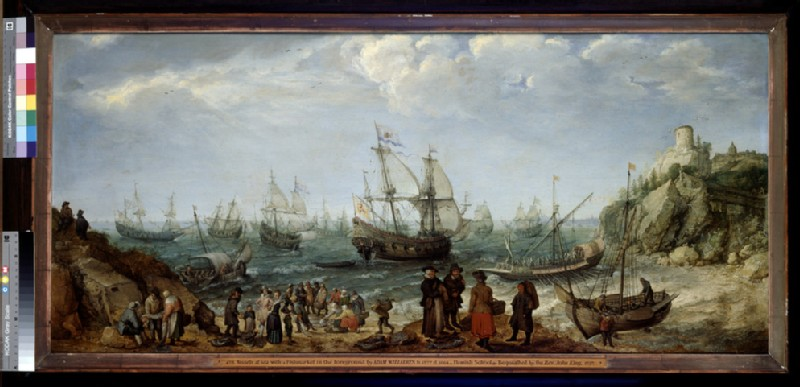 Warships off the Coast with a Fishmarket on the Beach