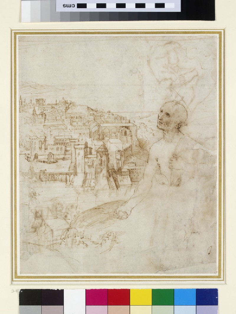 Recto: View of the city of Perugia, with the Penitent St Jerome in the foreground