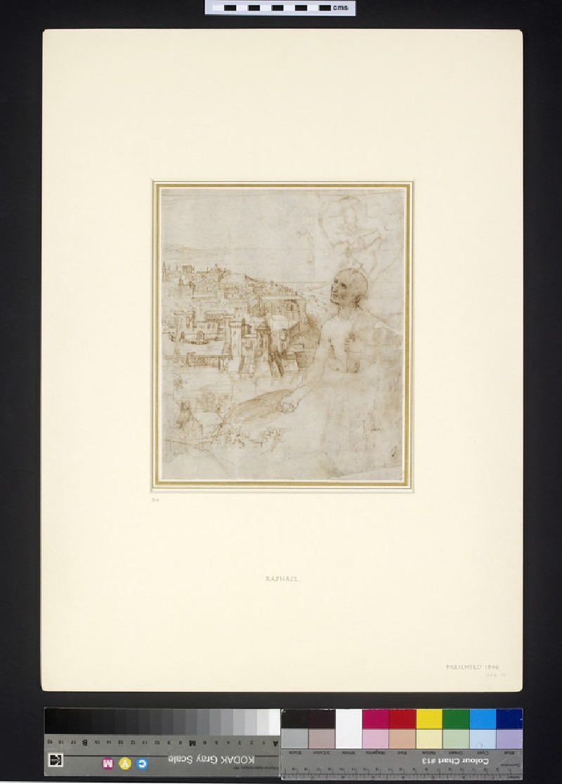 Recto: View of the city of Perugia, with the Penitent St Jerome in the foreground<br />Verso: Slight Sketch of the Virgin suckling the Christ Child, and another of a landscape for the Pala Colonna (WA1846.10)