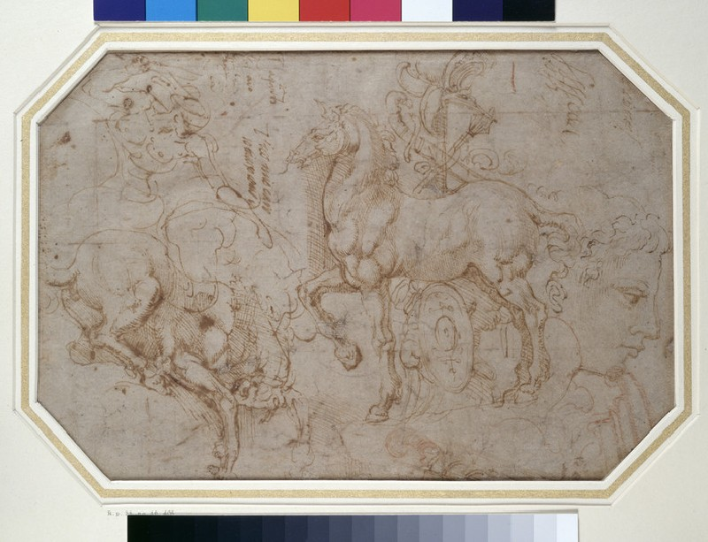 Recto: Horses and other studies 