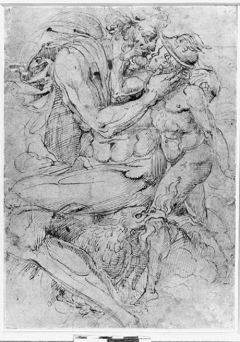 Recto: Jupiter and Ganymede<br />Verso: Figure of a man, studies of a knee, and various figures and masks (WA1846.128)