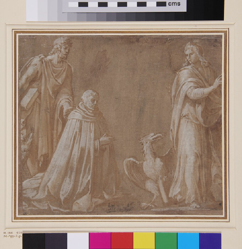 Kneeling Ecclesiastic with two Saints (WA1846.142, recto)