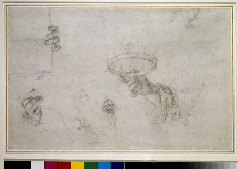 Recto: Hand holding a Crown, and other Studies for the Coronation of St Nicholas of Tolentino 