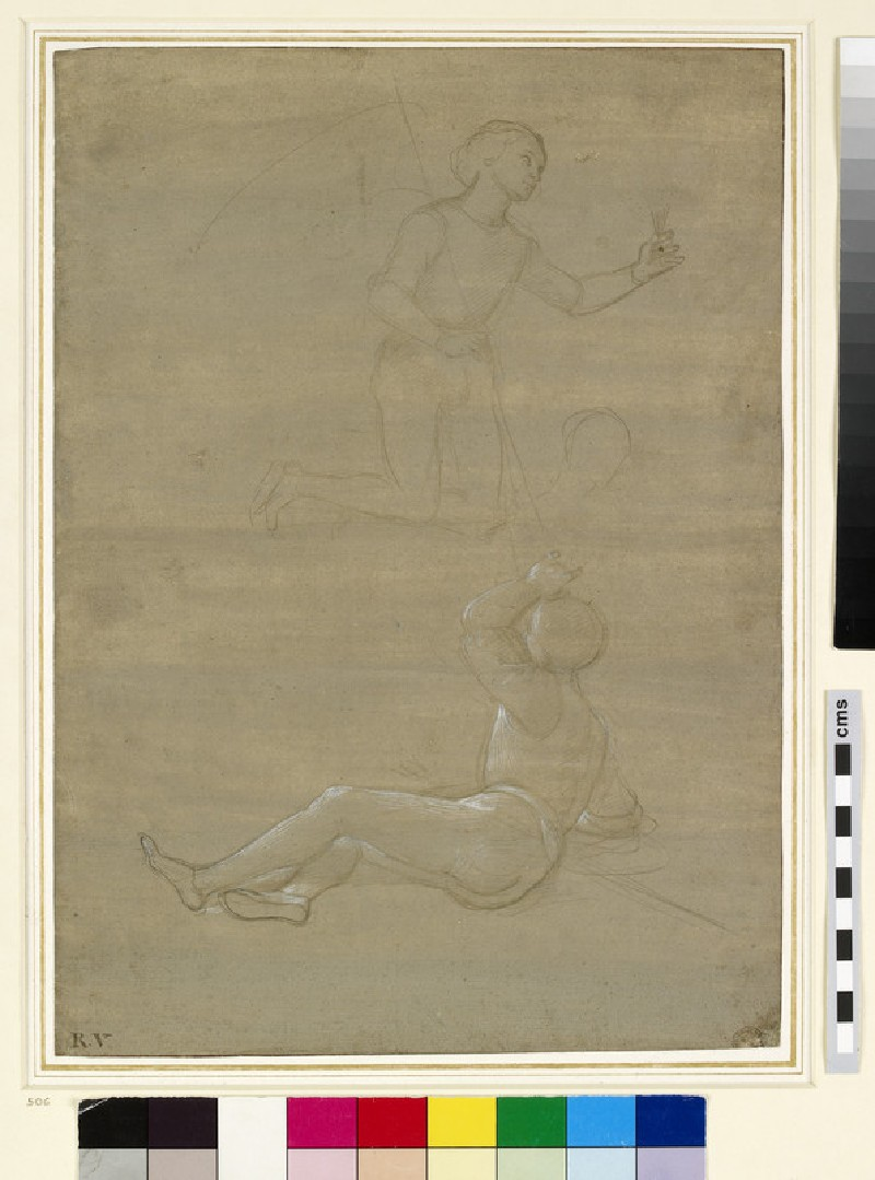 Studies for a guard in a Resurrection and of an angel