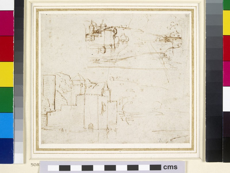 Recto: Two separate Sketches of Landscapes