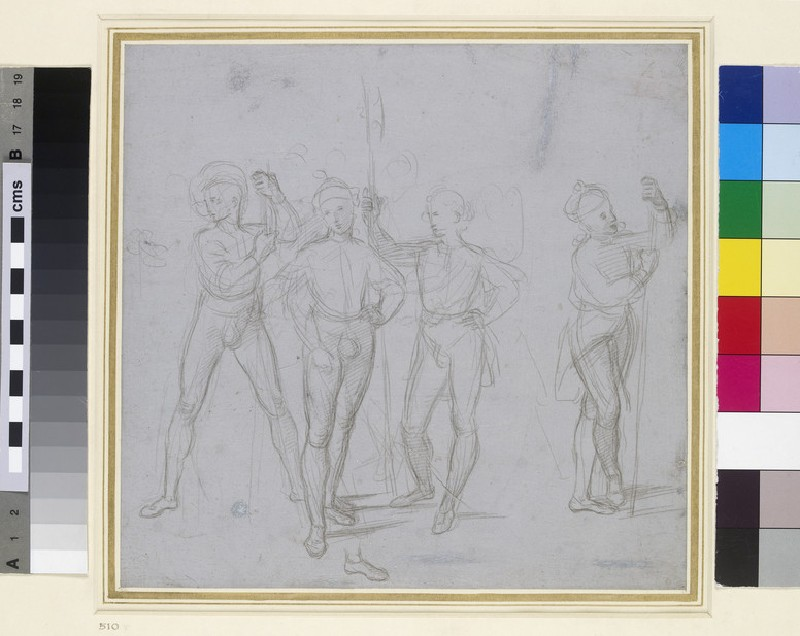 Recto: Group of four standing Soldiers