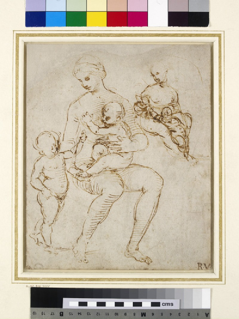 Recto: Two Studies for a Virgin and Child with St John (Madonna del Cardellino)