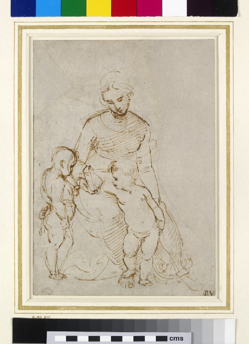 Recto: The Virgin and Child with St John (The Madonna del Cardellino)<br />Verso: Slight architectural jottings including a cruciform ground plan