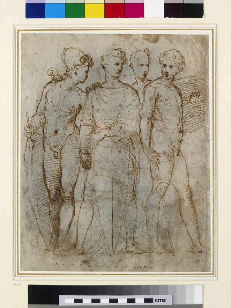 Recto: Four standing soldiers 