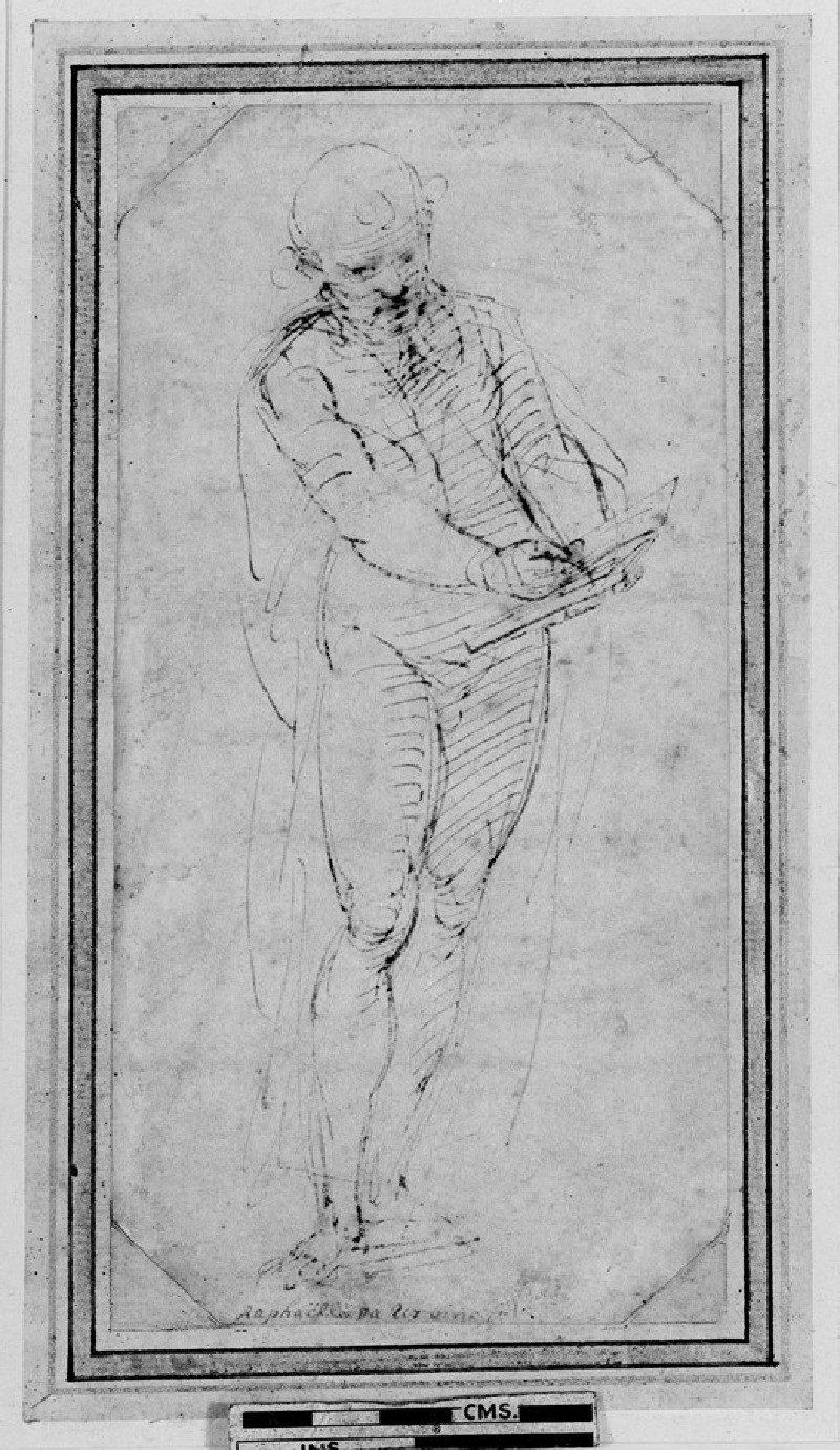 Recto: A Man writing in a Book