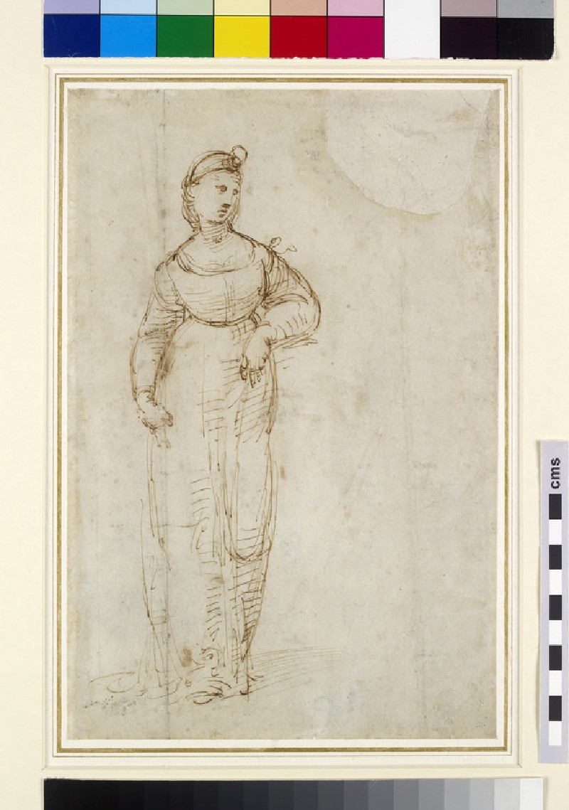 Recto: Study for St Catherine