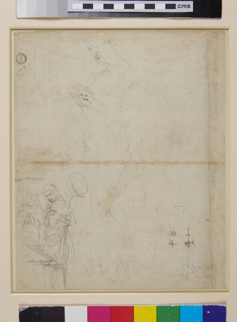 Recto: Sheet of Studies of Figures, Hands and a Lion's Head<br />Verso: Sheet of Figure Studies