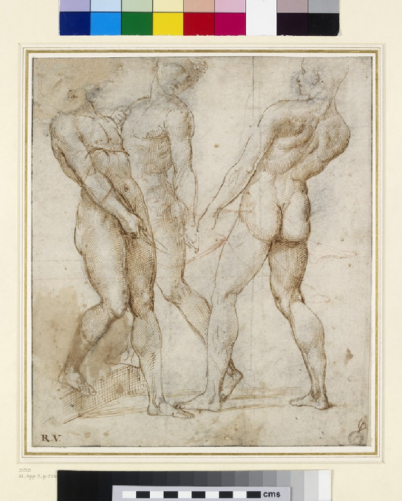 Three nude bearers (study for the Entombment of Christ)