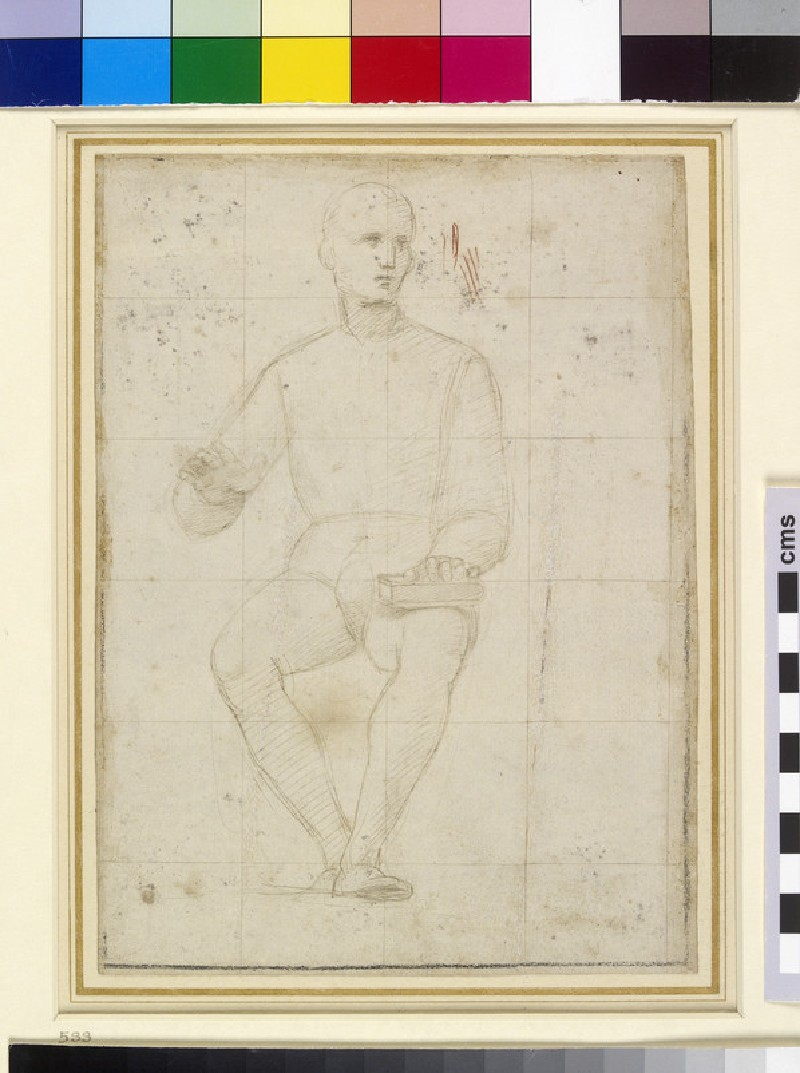 Recto: Study of a seated Man Verso: Rough Sketches of kneeling Figures