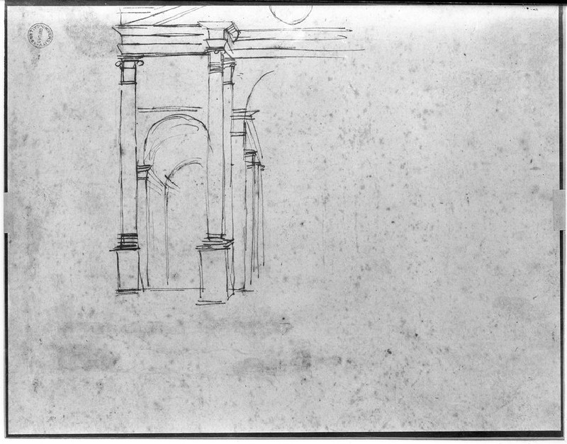 Recto: Study for a half-length Figure with Arms spread<br />Verso: Architectural sketch