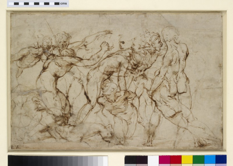 A battle of nude warriors with captives (WA1846.179)