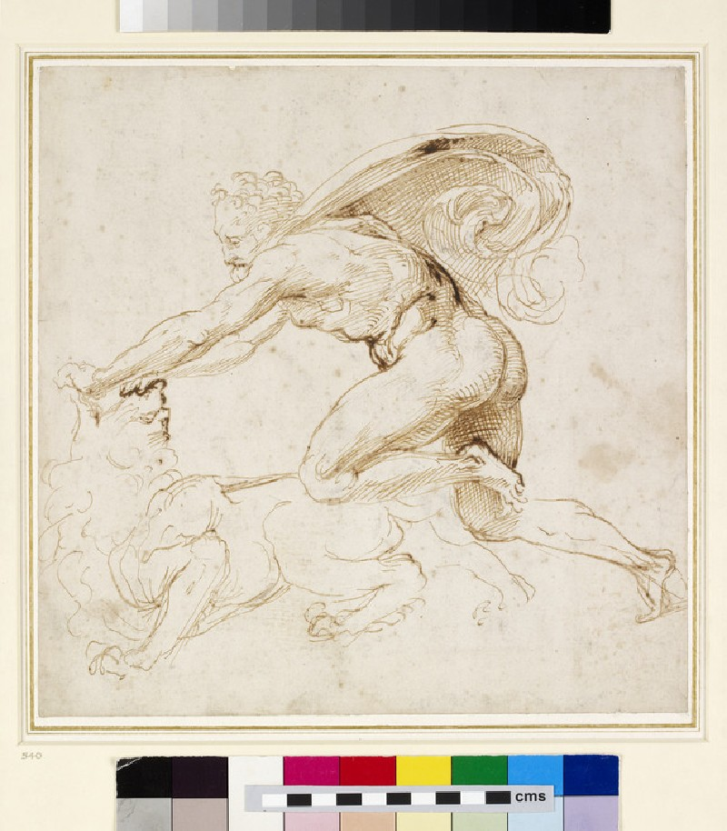 Recto: Hercules overpowering the Nemean lion <br />Verso: Head of a Woman (WA1846.181)
