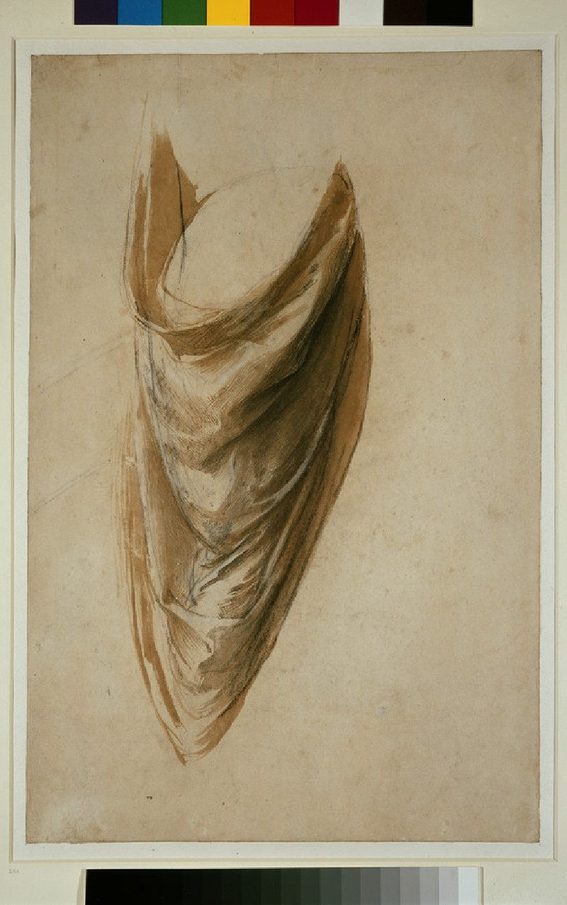 Recto: Study of Drapery for a standing Figure (Study for the Disputa)