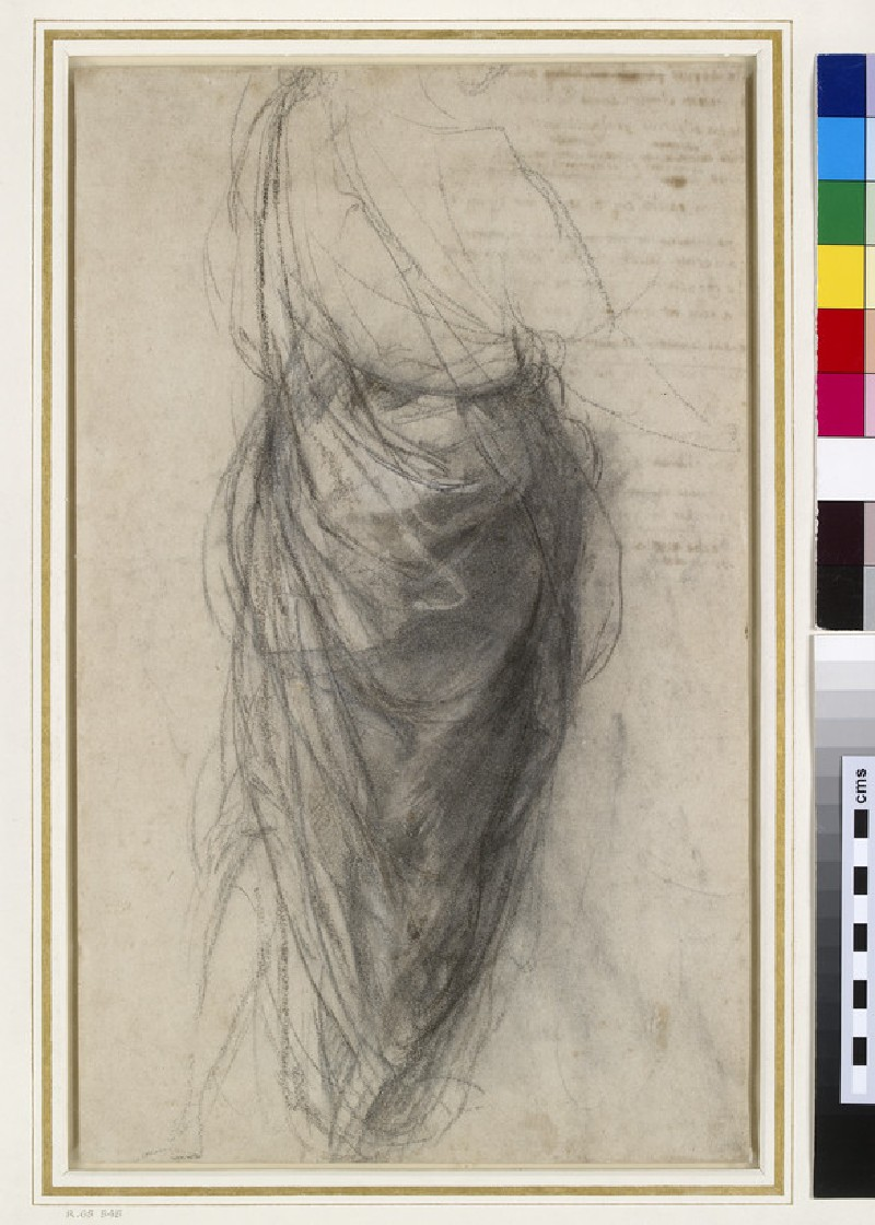 Recto: Study for the Drapery of a Man in back view (Study for the Disputa)