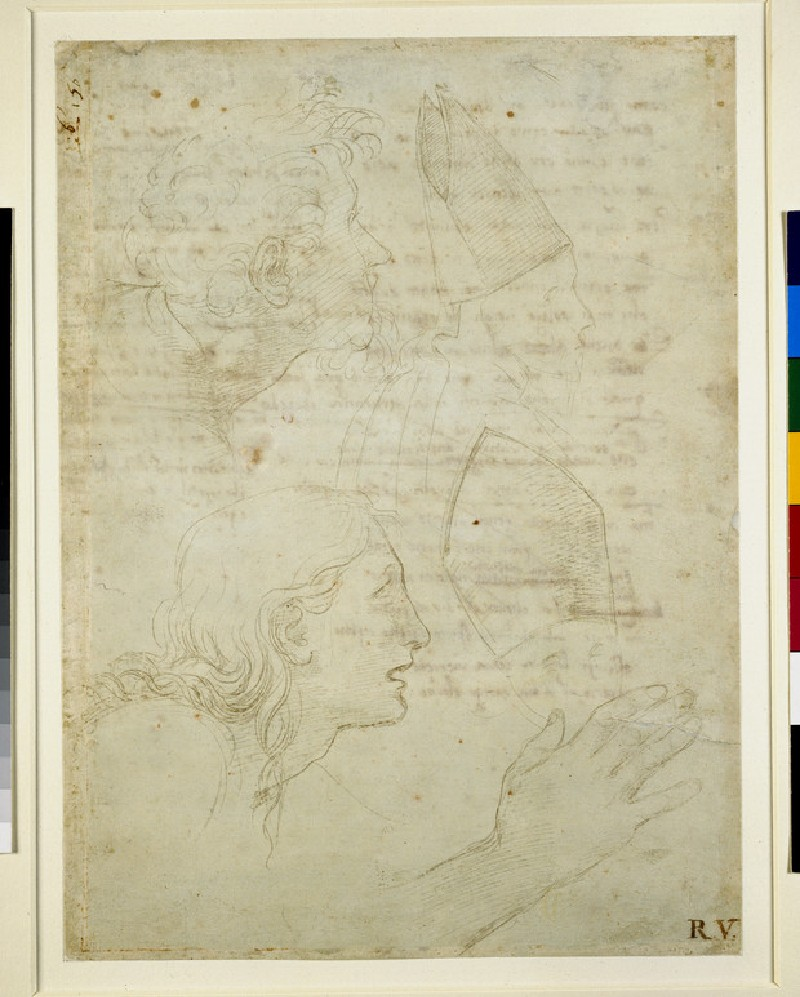Recto: Studies of heads and of a hand <br />Verso: Draft sonnets 'Come non podde dir' and 'Amor tu m'envesscati'