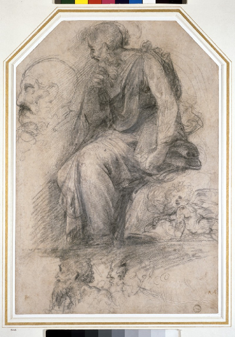 A male saint, seated (St Paul): Study for the Disputa