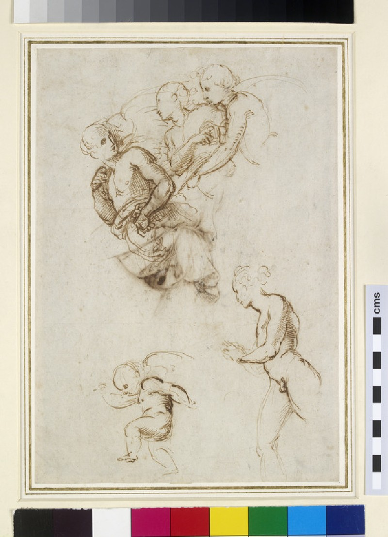 Recto: Studies for a Group of flying Angels