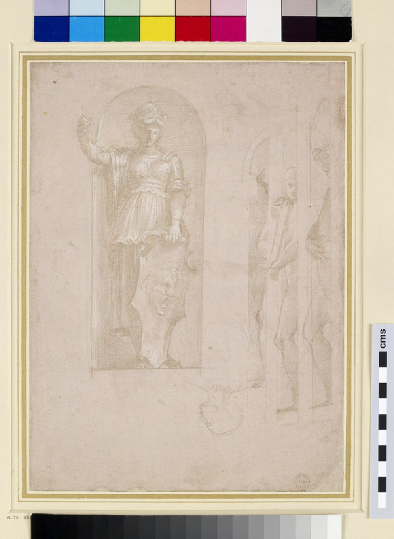 Studies for a figure of Minerva and other statues (Study for the School of Athens)