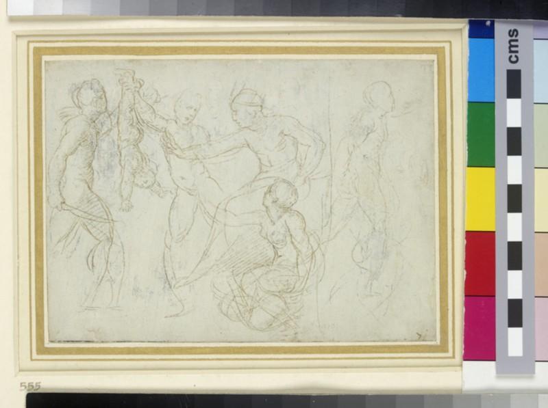 Recto: The Judgement of Solomon<br />Verso: Five Sketches of Strapwork