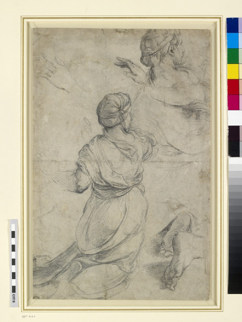 Recto: Studies for two kneeling Women