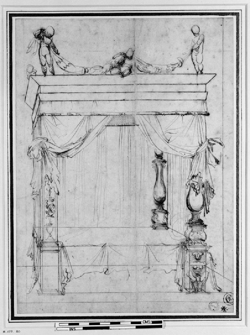 Design for a four-poster bed (WA1846.20)