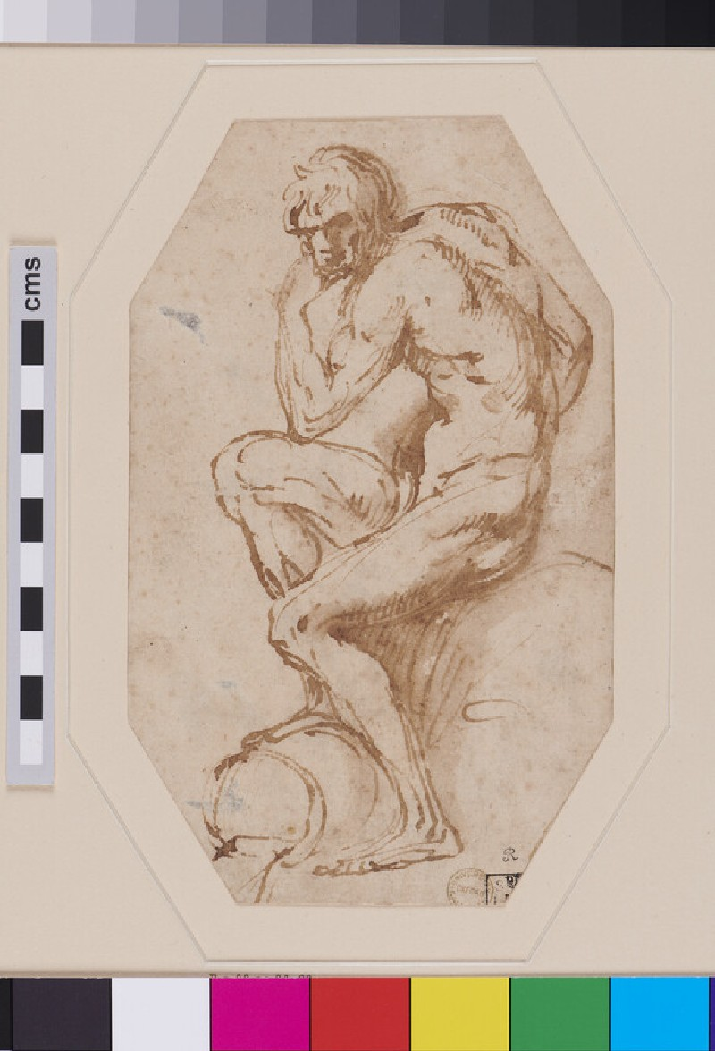 Nude seated River God