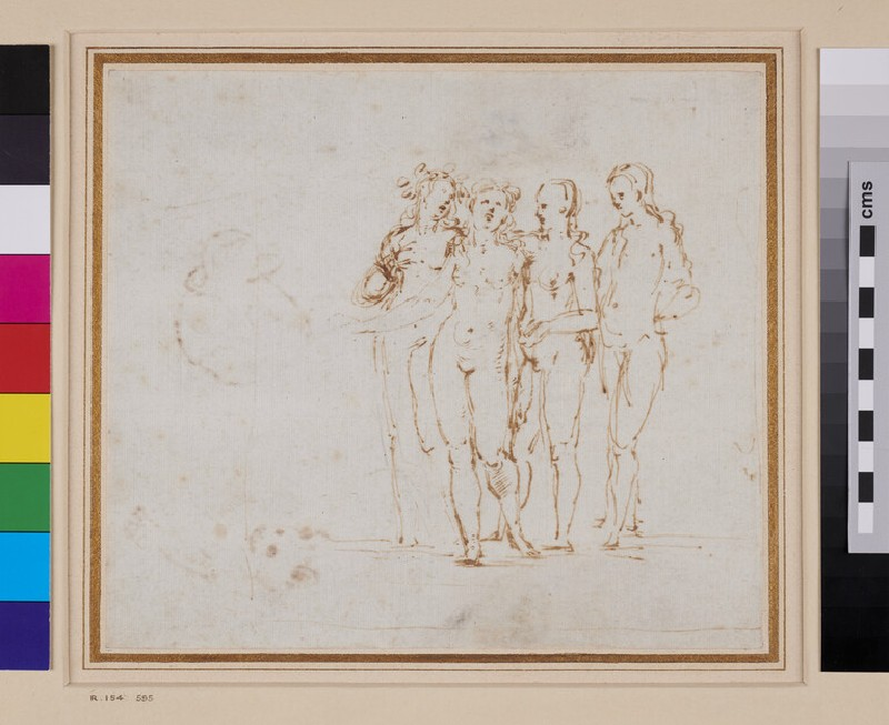 Recto: Four nude female Figures