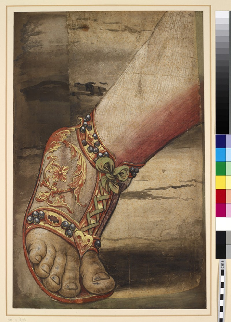 The left foot of the crowned King on the right in the Adoration of the Magi Tapestry