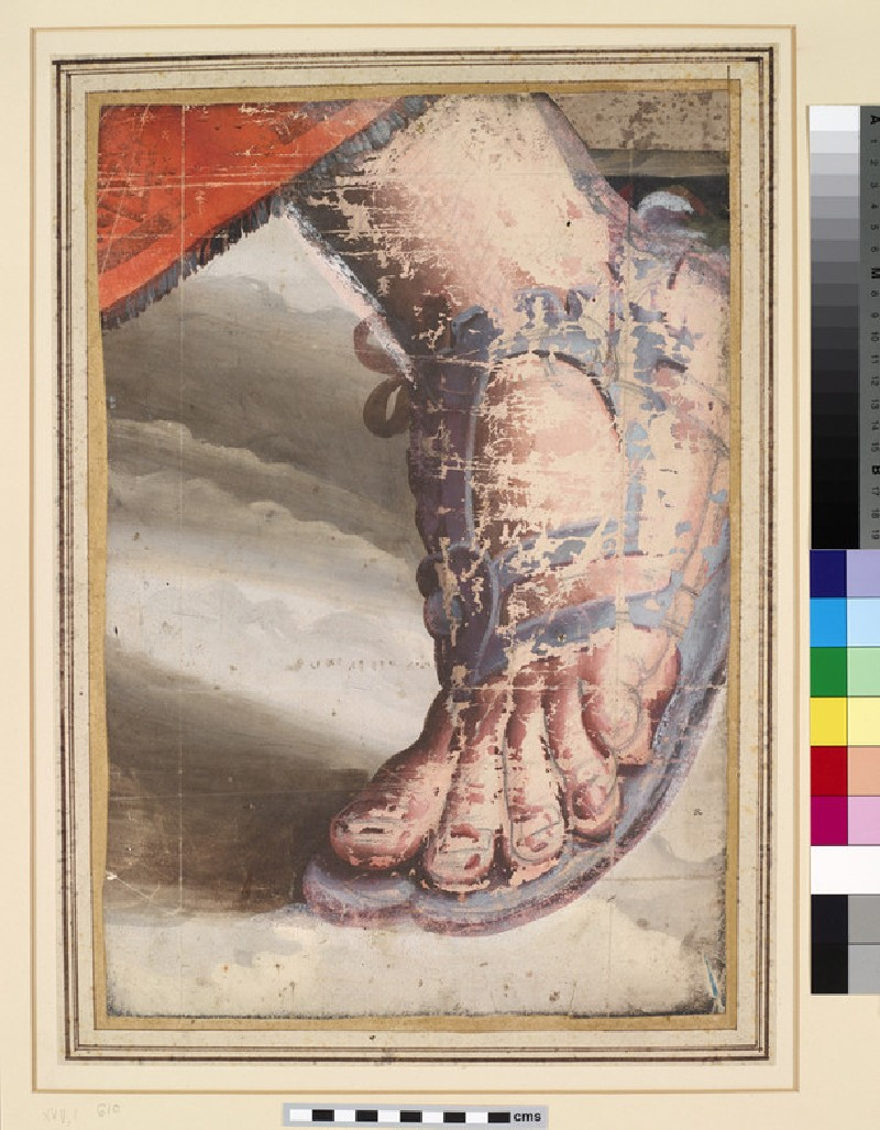 The left Foot (right in the Presentation in the Temple Tapestry) of the Virgin Mary