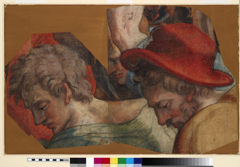 Two Heads of young Men and (on right) one of an older Man, all gazing downwards to left in rapt attention (WA1846.252)
