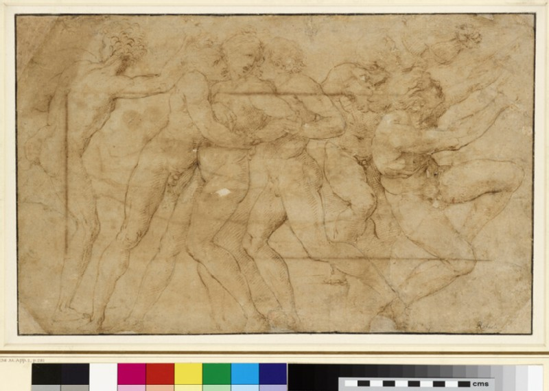 Recto: Composition of nude figures